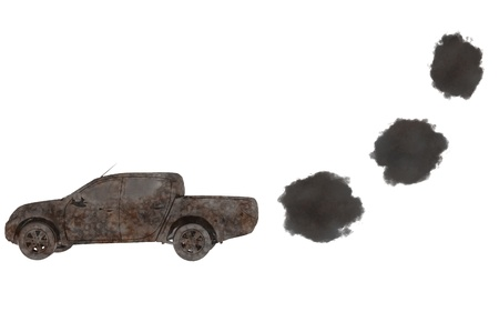 smog: fossil fuel 3d car environmental concept render