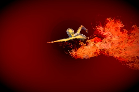 swimming pool or oil spill on fire concept render Stock Photo - 8841509