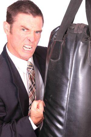 dork: business man boxing punching bag concept image