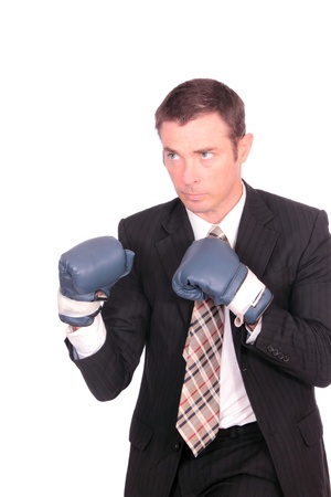 business man boxing punching bag concept image photo