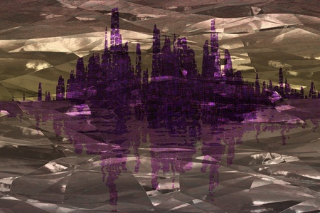 abstract city reflected in foil wrapper render illustration illustration