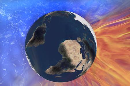 enviroment: earth fire space energy enviroment creation concept image Stock Photo