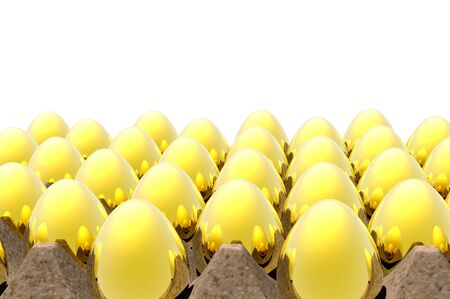 golden nest egg render in carton tray photo