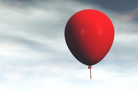 serene emotive red balloon 3d render image photo