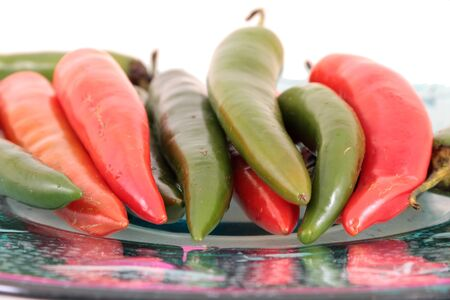 Red and green sweet and hot small chilli isloated photo
