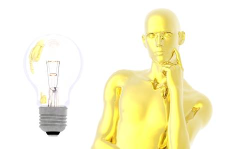 provoking: light bulb man in thought idea future render concept