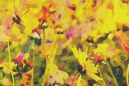 oil painting of country flower in field photo
