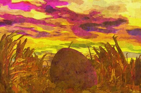 oil painting easter eggs in grass nest photo