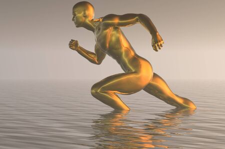 gold man ploughing through water concept render image photo
