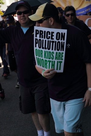 BRISBANE, AUSTRALIA - MAY 2 : Labour day street march protesting climate change and a call for carbon pricing  May 2, 2011 in Brisbane, Australia  Stock Photo - 9434012