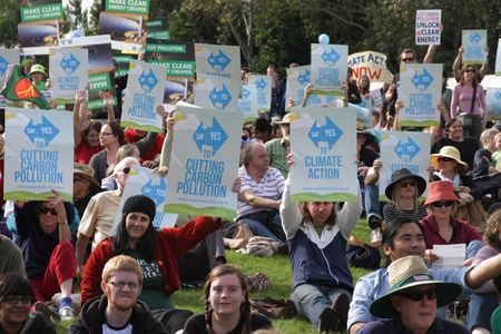 BRISBANE, AUSTRALIA - JUNE 6 : crowds with say Yes to cutting carbon pollution and clean energy signs at rally during World Enviroment Day say yes protest 6, 2011 in Brisbane, Australia