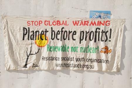 BRISBANE, AUSTRALIA - JUNE 6 : Pro renwable anti nuclear energy sign at World Enviroment Day protest 6, 2011 in Brisbane, Australia