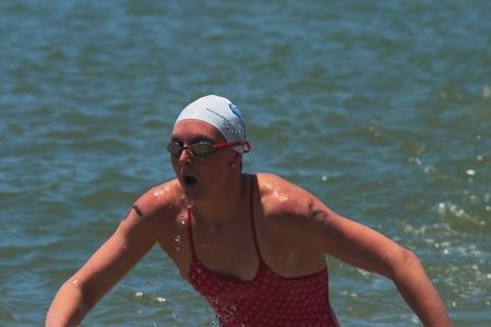 BRISBANE, AUSTRALIA  NOV 27 :Olympic World Champion Melissa Gorman emerges to win Great Australian Swim Series race November 27, 2011 in Brisbane, Australia
