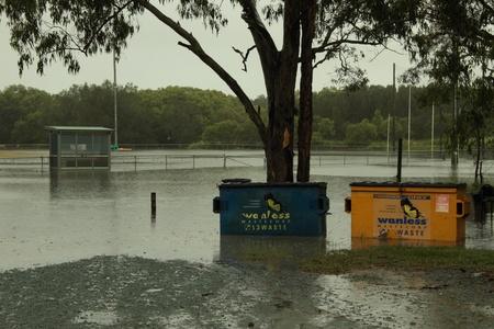 BRISBANE, AUSTRALIA - JAN 25 : One year on Brisbane flooding again, Redcliffe Peninsula Australian Football Club underwater January 25, 2012 in Brisbane, Australia