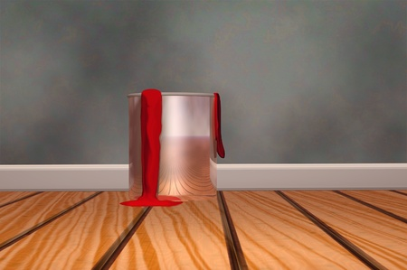 red paint can home decorator 3d render photo