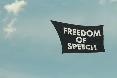 free vote: A random protest freedom of speech flags flys over brisbane with no other protests