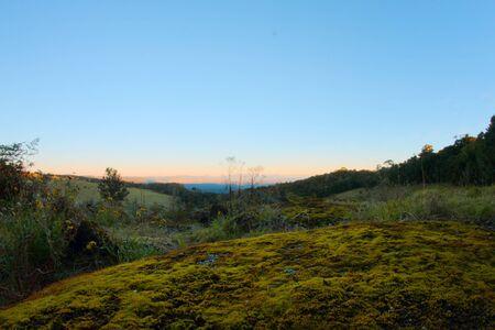 views of the border ranges on duck road lamington national park overlooking farmland photo