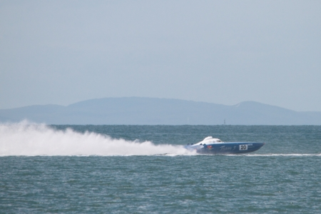 BRISBANE, AUSTRALIA - SEPTEMBER 16 : Team 3 participating in round 5 of Offshore Superboat Championships on September 16, 2012 in Brisbane, Australia