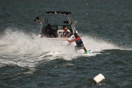 BRISBANE, AUSTRALIA - SEPTEMBER 15 :  Bradley Teunissen giving wakeboarding demonstration as part of Australian Water Ski Racing Championship on September 15, 2012 in Brisbane, Australia