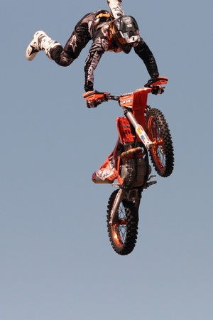 BRISBANE, AUSTRALIA - SEPTEMBER 15 :  unidentified rider giving FMX motorcross demonstration as part of Redcliffe Festival on September 15, 2012 in Brisbane, Australia