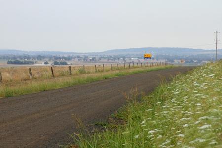 hemlock: no grava líneas arbusto camino cicuta en el lado de padocks queensland australia