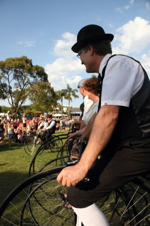 BRISBANE, AUSTRALIA - NOVEMBER 24 : Unidentified participants in penny farthing stack world record attempt on November 24, 2012 in Brisbane, Australia