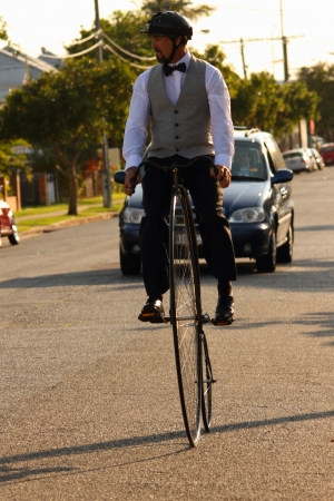 velocipede: BRISBANE, AUSTRALIA - NOVEMBER 24 : Unidentified participant in Pennies by the bay ride on November 24, 2012 in Brisbane, Australia Editorial