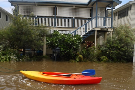 oswald: BRISBANE, AUSTRALIA - JANUARY 28 : Houses flooded from ex tropical cyclone Oswald on January 28, 2013 in Brisbane, Australia