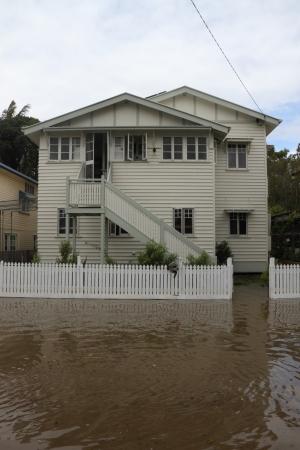 BRISBANE, AUSTRALIA - JANUARY 28 : Houses flooded from ex tropical cyclone Oswald on January 28, 2013 in Brisbane, Australia