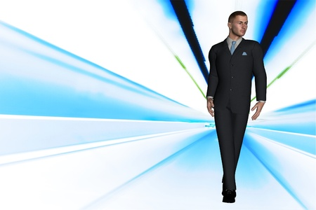 suited up: 3d render  young modern business man concept fashion data stream image  Stock Photo
