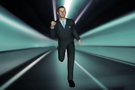 suited up: 3d render  young modern business man running concept image
