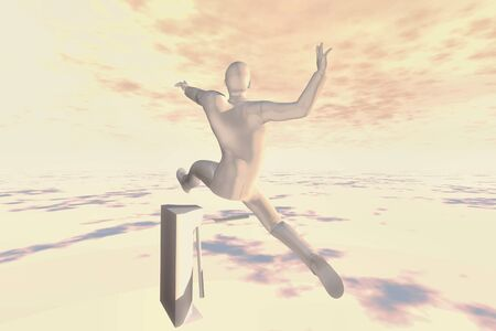 3d business man render jump over gate concept image photo