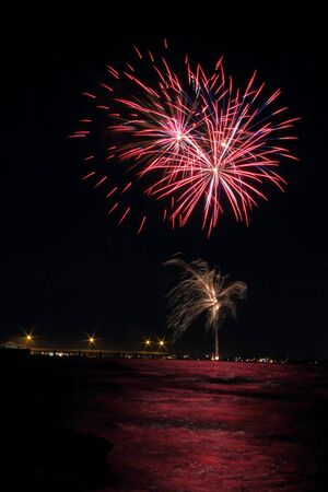 easter festival of sails fireworks over sandgate peir brisbane queensland australia photo