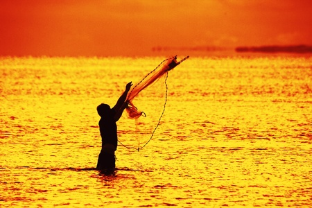 silhouette of fisherman using net during sunrise brisbane queensland australia photo