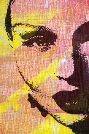 artist painting: original oil painting of woman on canvas ideal for giclee prints Stock Photo