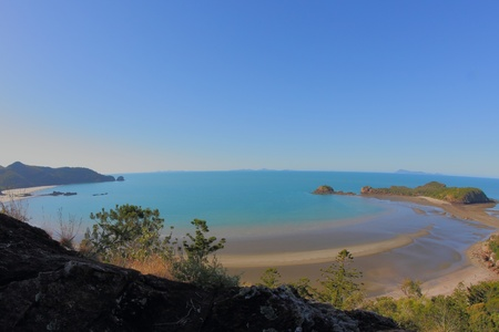 Turtle lookout view of Smalley�s Beach and Beachcomber Cove area Cape Hillsborough national park queensland australia photo