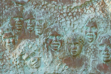 tribal park: hervey bay plaque to the historical owner aboriginal tribe of butchulla Stock Photo