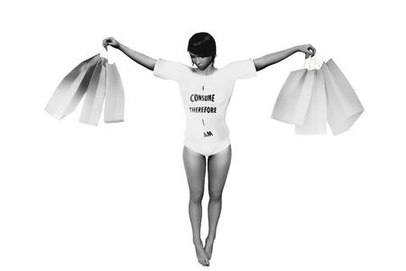 consumerism: Anti consumerism graffiti drawing of shopping woman