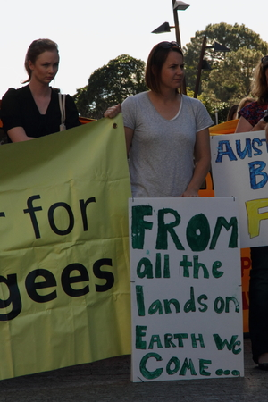 BRISBANE, AUSTRALIA - JUNE 22 : Unidentified protesters attending World Refugee Rally June 22, 2014 in Brisbane, Australia