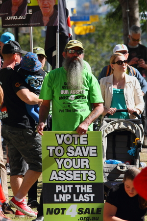 BRISBANE, AUSTRALIA - JULY 06 : Unidentified protester of privatisation at Bust The Budget anti liberal governement Rally July 06, 2014 in Brisbane, Australia
