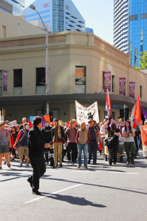 richer: BRISBANE, AUSTRALIA - JULY 06 : Unidentified protesters marching during Bust The Budget anti liberal governement Rally July 06, 2014 in Brisbane, Australia Editorial