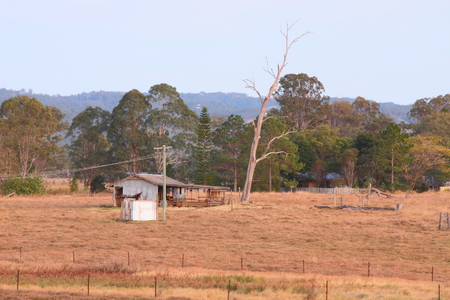 Outback australian farmland hut shed shack queensland photo