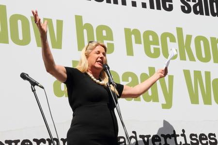 comedian: BRISBANE, AUSTRALIA - AUGUST 31: Comedian Mandy Nolan performing at March Australia Rally August 31, 2014 in Brisbane, Australia