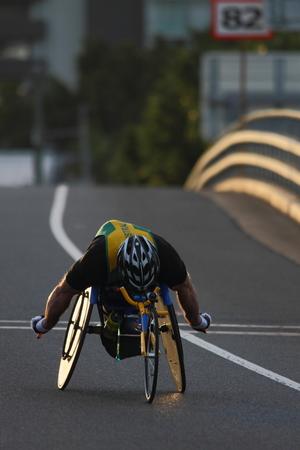 BRISBANE, AUSTRALIA - SEPTEMBER 07 : Richard Nicholson  participating in the Bridge to Brisbane charity fun run on September 07, 2014 in Brisbane, Australia