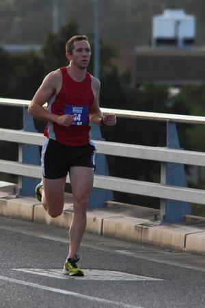 BRISBANE, AUSTRALIA - SEPTEMBER 07 :Bryan Mcmanus participating in the Bridge to Brisbane charity fun run on September 07, 2014 in Brisbane, Australia