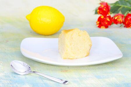 Lemon Yogurt cake for tea time snack high calorie with sugar syrup photo