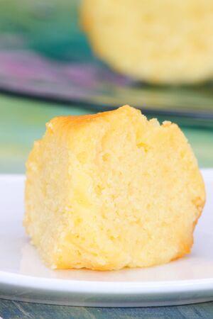 high calorie: Lemon Yogurt cake for tea time snack high calorie with sugar syrup Stock Photo