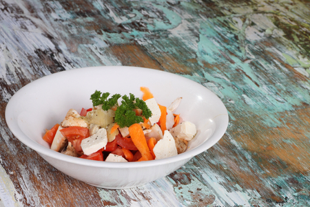 A goats cheese feta salad cron style or calorie restriction  intermediate  fasting  200 cal  photo