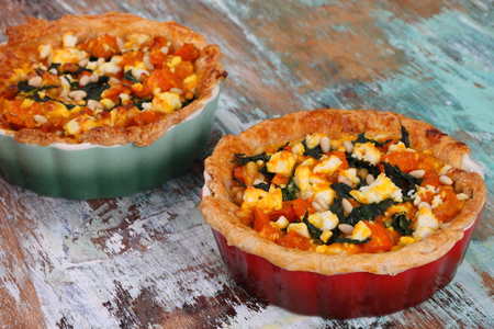 pine nuts: Goats cheese pie with puff pastry roasted pumpkin pine nuts and spinach