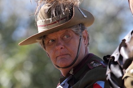reenactor: CABOOLTURE, AUSTRALIA -SEPTEMBER 06: Unidentified re-enactor from 11th Lighthorse Association as part of ANZAC centenary commemoration at historical village September 06, 2014 in Caboolture, Australia